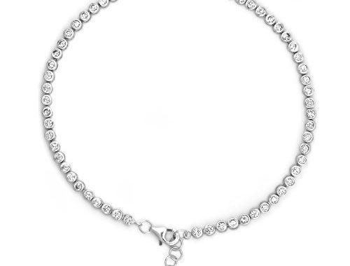 9.5 Long Sterling Silver Round Bezel Set CZ Bubbles Anklet Bracelet